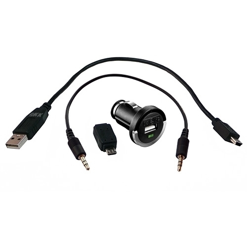 KFZ-Set: USB-Ladeadapter + Mini-B-Kabel + Micro-B-Adapter + Audio-Kabel